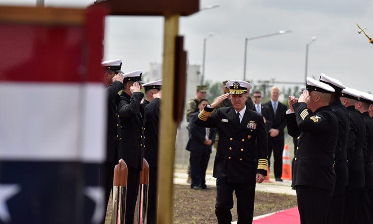 COMNAVEUR/AF Amiral Mark Ferguson arrives at the Deveselu Aegis Ashore Facility (Lucian Crusoveanu / Public Diplomacy Office)