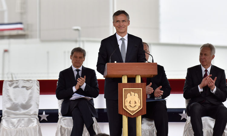 NATO Secretary General Jens Stoltenberg deliver remarks at the Aegis Ashore Operationalisation Ceremony (Lucian Crusoveanu/Public Diplomacy Office)