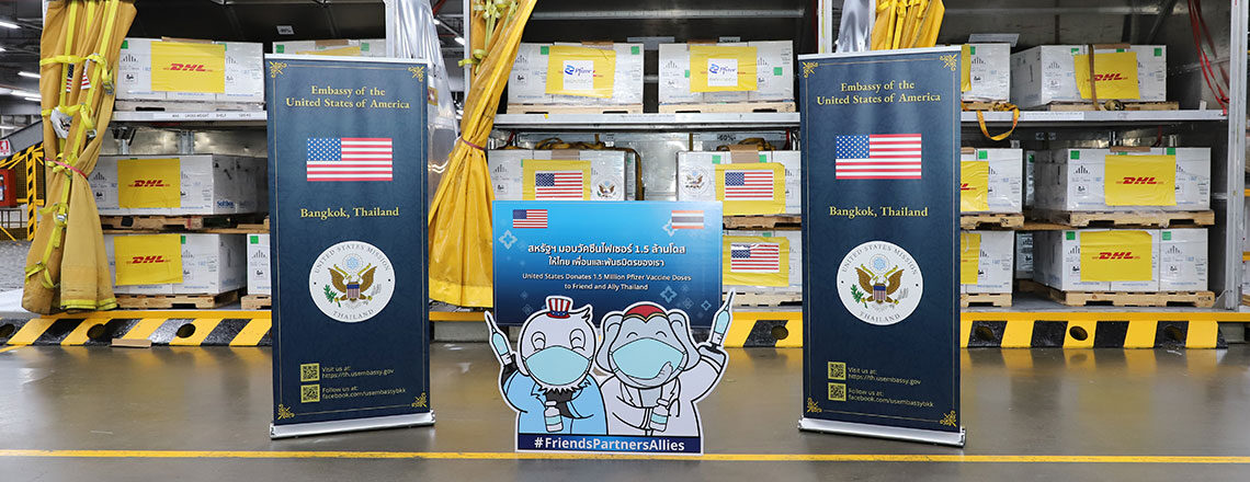 1.5 Million Pfizer Vaccine Doses, Donated by the United States, Arrive in Thailand