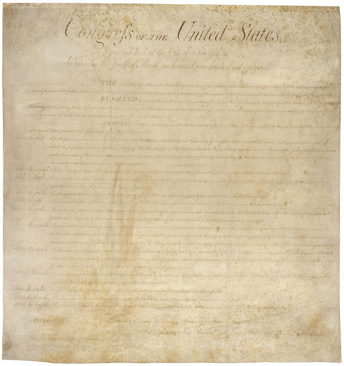 The Bill of Rights becomes law. The first ten amendments to the United States Constitution give these fundamental rights to all United States citizens: