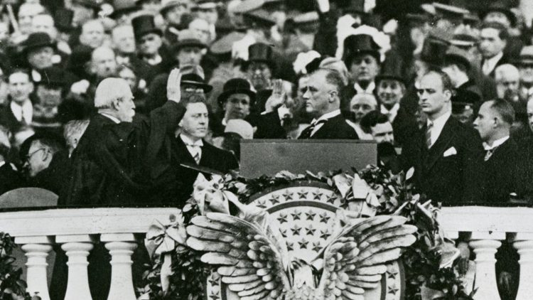 """Franklin D. Roosevelt is inaugurated today as the 32nd President of the United States. It was during his address that he gave one of his famous quotes, """"the only thing we have to fear is fear itself."""""""