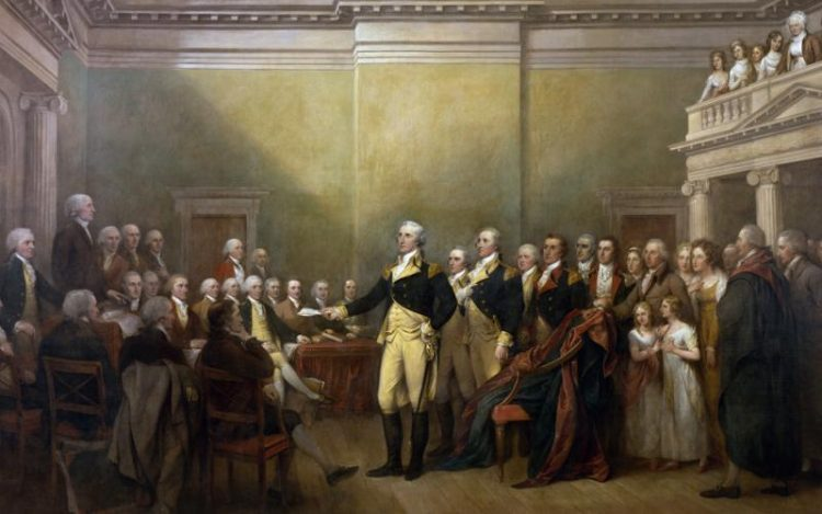 President George Washington delivers the first State of the Union address. President Washington gave a brief outline of his policies designed by Alexander Hamilton.
