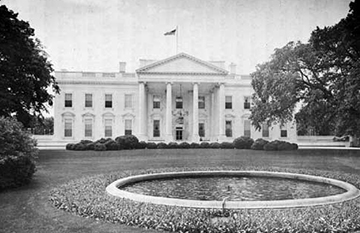 """The cornerstone was laid for a presidential residence in the newly designated capital city of Washington. In 1800, President John Adams became the first president to reside in the executive mansion, which soon became known as the """"White House""""."""