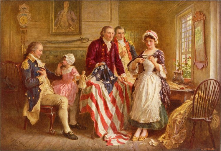 """In 1777, the Continental Congress adopts the """"stars and stripes"""" as their flag. In the resolution, it stated that """"the flag of the United States be thirteen alternate stripes red and white"""" and that """"the Union be thirteen stars, white in a blue field, representing a new Constellation."""" June 14 is known as Flag Day in the U.S."""