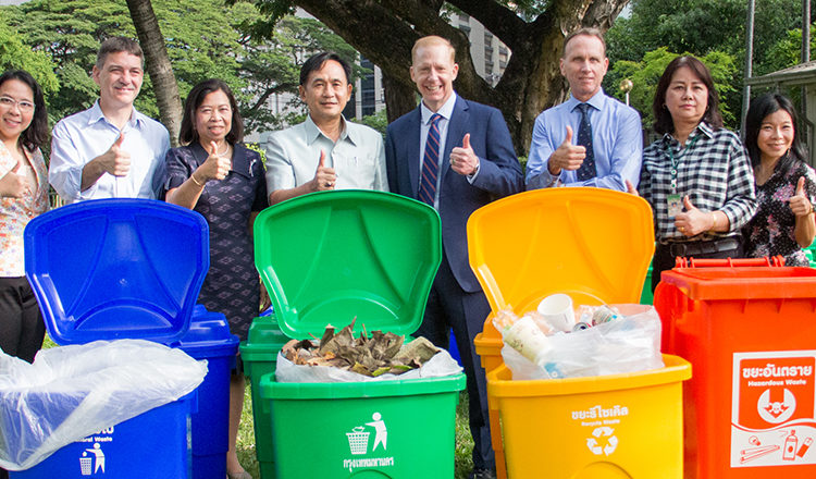 Bangkok Metropolitan Administration (BMA) Pathumwan District and Department of Environment representatives provided the U.S. Embassy with color-coded recycling bins