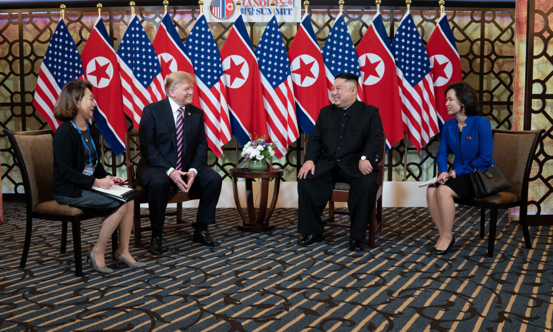 President Donald J. Trump and Kim Jong Un talk Feb. 27, 2019, at the Sofitel Legend Metropole hotel in Hanoi, for their second summit meeting. (Official White House Photo by Shealah Craighead)