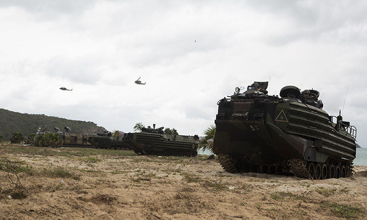 U.S. Marines with Alpha Company, Battalion Landing Team, 1st Battalion, 5th Marine Regiment, standby in assault amphibious vehicles during an amphibious beach landing as part of exercise Cobra Gold 2020 at Hat Yao Beach, Sattahip, Kingdom of Thailand, Feb. 28, 2020. Exercise Cobra Gold 20, in its 39th iteration, is designed to advance regional security and ensure effective responses to regional crises by bringing together multinational forces to address shared goals and security commitments in the Indo-Pacific region. (U.S. Marine Corps photo by Lance Cpl. Hannah Hall)