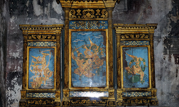 """Ramayana Mural Painting Documentation Project at Wat Suthat, Bangkok"" implemented by Silpakorn University's Faculty of Architecture."
