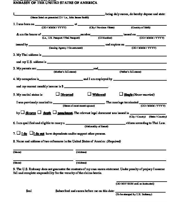 Affidavit of Marriage: for Bangkok | U S  Embassy