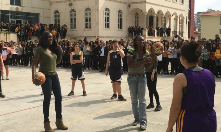 Playing basketball with students at Adana Girls High School