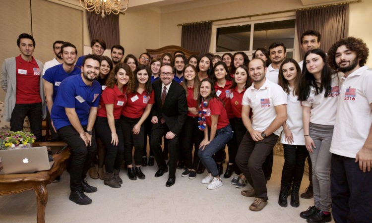 Ambassador John Bass is hosting students to watch the U.S. Presidential Elections