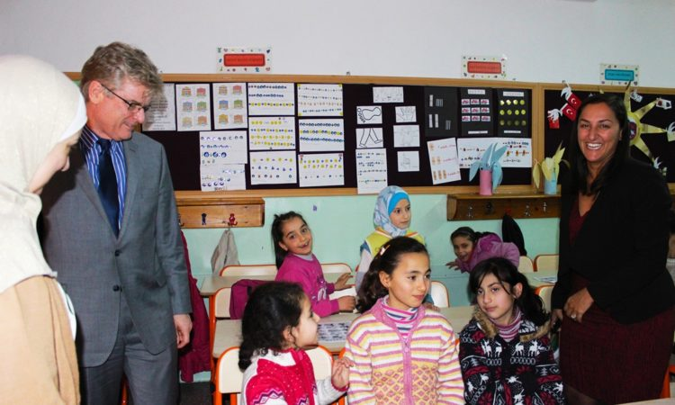 Syrian children at a U.S.-supported second-shift school in Ankara