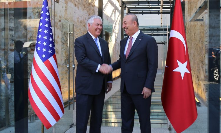 Secretary Tillerson greeted by Turkish Foreign Minister Mevlut Çavuşoğlu