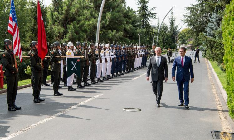 Secretary of Defense Jim Mattis meets with Turkey's Defense Minister Nurettin Canikli while in Ankara, Turkey, Aug. 23, 2017. (DOD photo by U.S. Air Force Staff Sgt. Jette Carr)