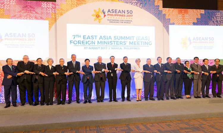 U.S. Secretary of State Rex Tillerson participates in the 7th East Asia Summit Foreign Ministers' meeting on August 7, 2017 at Philippine International Convention Center Manila.