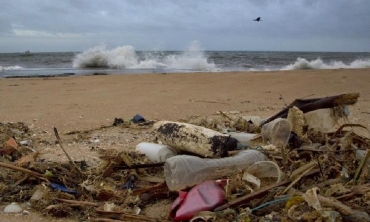 A plastic bottle lies among other debris washed ashore on the Indian Ocean beach in Uswetakeiyawa, north of Colombo, Sri Lanka.