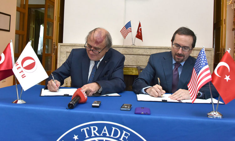 Ambassador John Bass, Prof. Dr. Mustafa Verşan KÖK and Carl Kress - Grant Signing for USTDA Smart Campus Project with Middle East Technical University (METU)