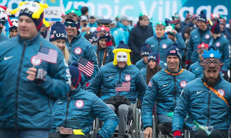Team USA Paralympics participate in a welcome ceremony in South Korea. (USA Paralympics photo)