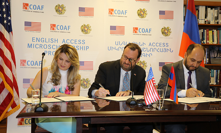 U.S. Embassy joins RA Ministry of Education and Science and COAF to expand English Education in Rural Armenia