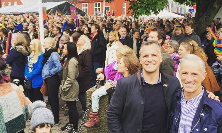 Ambassador Gifford and Dr. Stephen DeVincent in Torshavn, Faroe Islands for Pride. Photo: State Dept.
