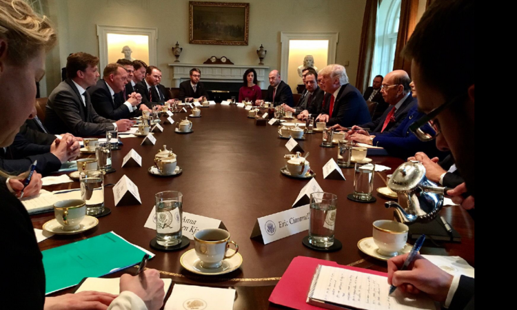 U.S. and Danish delegations at the meeting between President Trump and Prime Minister Rasmussen. Photo: Government of Denmark