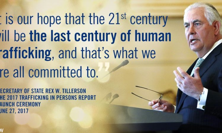 Secretary Tillerson speaking at the release of the 2017 TIP report. Photo: State Dept.