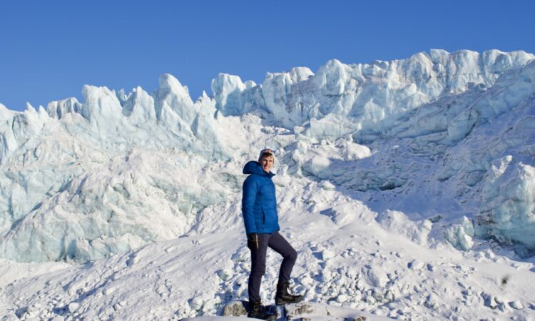 Henry in front of the Russell Glacier in Greenland